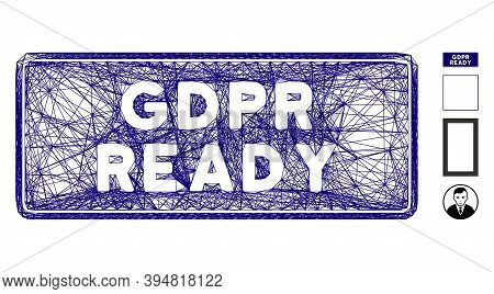 Vector Network Gdpr Ready Rounded Rectangle. Geometric Linear Frame 2d Network Generated With Gdpr R