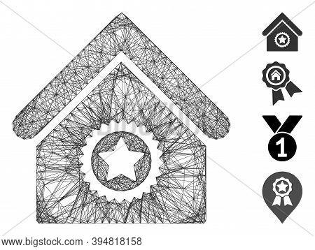 Vector Net Excellent Building. Geometric Linear Carcass 2d Net Made From Excellent Building Icon, De
