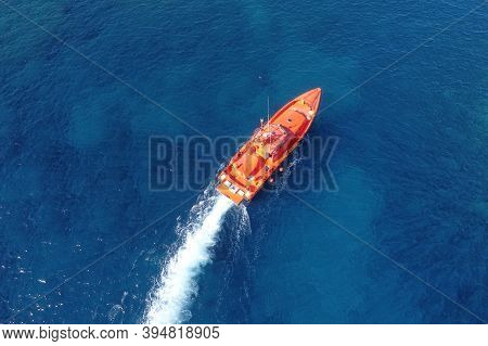 Aerial View Of A Maritime Rescue Ship Sailing In The Ocean. High Quality Photography. High Quality P