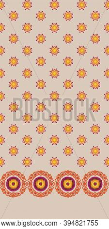 Medallion Border Design With Foulard Field. Yellow, Orange, Burgundy On Sand Ground