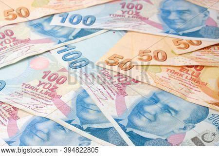 Stack Of One Fifty Turkish Lira Bills And Hundred Turkish Lira Bills