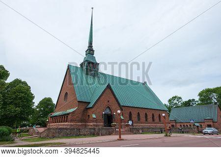 Finland, Aland Islands, Marienhamn, August 2019: Central Cathedral Of Mariehamn, St. George's Church