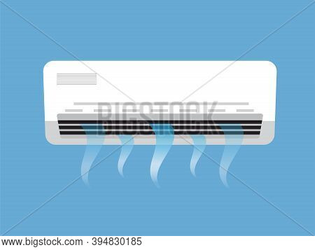 Air Conditioning On Blue Background, Vector Design.