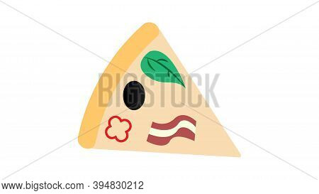 Slice Of Pizza On Thin Crust, White Background, Vector Illustration. Pizza Stuffed With Meat, Mushro
