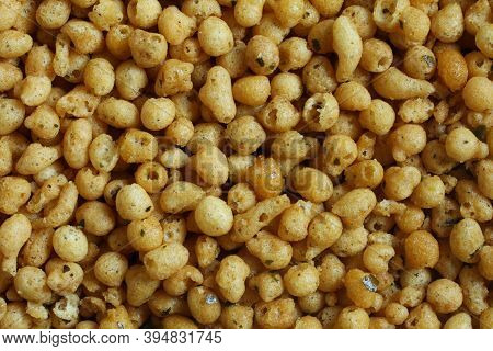 Boondi Masala (fried Spicy Chickpea Flour Balls). View From Above On Bals Pile. Closeup