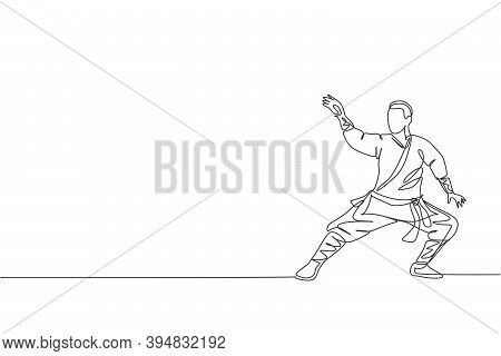Single Continuous Line Drawing Young Muscular Shaolin Monk Man Train Martial Art At Shaolin Temple.