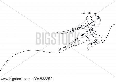Single Continuous Line Drawing Of Young Muscular Shaolin Monk Man Holding Sword And Train Jumping Ki