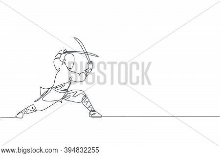 Single Continuous Line Drawing Of Young Muscular Shaolin Monk Man Holding Sword Train At Shaolin Tem