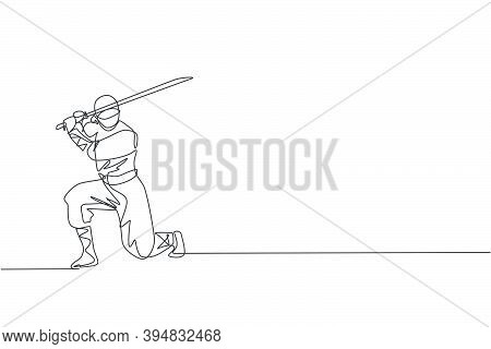 One Continuous Line Drawing Of Young Brave Japanese Ninja Character On Black Costume With Attacking
