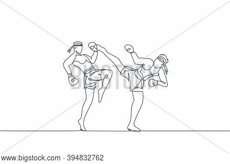 One Single Line Drawing Of Two Young Energetic Muay Thai Fighter Men Fight Sparring At Gym Fitness C