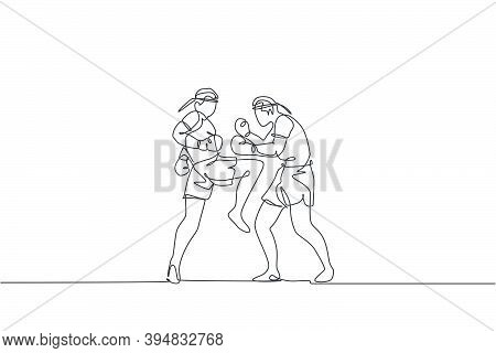 One Continuous Line Drawing Two Young Sporty Muay Thai Boxer Men Preparing To Fight Sparring At Boxi