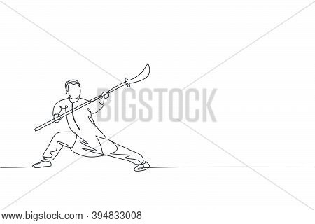One Single Line Drawing Of Young Man On Kimono Exercise Wushu Martial Art, Kung Fu Technique With Sp