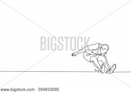 One Continuous Line Drawing Of Young Sporty Man Practicing To Land On Sand Pool After Long Jump. Hea