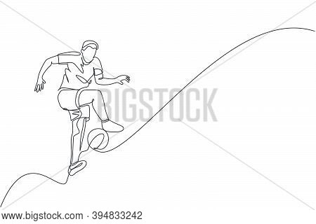 One Single Line Drawing Of Young Happy Man Perform Soccer Freestyle, Jump Juggling At The City Squar