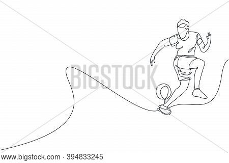 One Single Line Drawing Of Young Man Perform Soccer Freestyle, Jump Juggling Ball With Heel At City