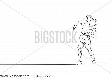 Single Continuous Line Drawing Young Sportive Man Train Soccer Freestyle, Hold The Ball With Shoulde