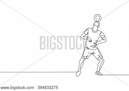 One Single Line Drawing Of Young Happy Man Perform Soccer Freestyle, Keep The Ball On Head At The Ci