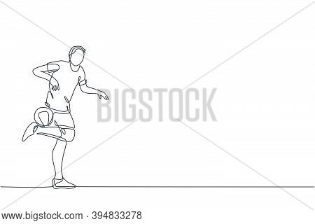 One Continuous Line Drawing Of Young Sporty Man Soccer Freestyler Player Practice Hold The Ball With