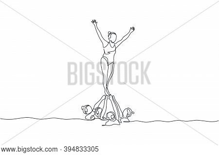 Single Continuous Line Drawing Young Sportive Women Perform Beautiful Synchronized Swimming Choreogr