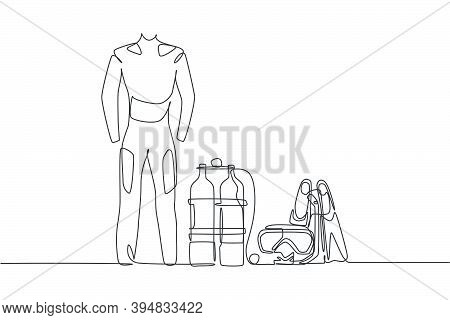 Single Continuous Line Drawing Of Wetsuit, Swimsuit, Regulator, Oxygen, Mask, Snorkel, Goggle And Fi