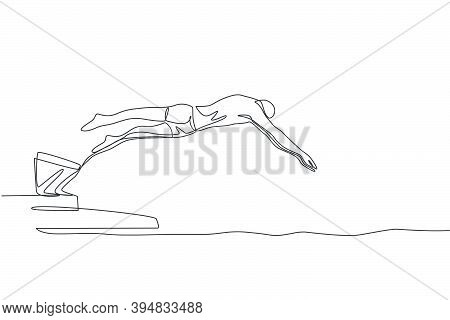 One Single Line Drawing Of Young Sporty Fit Swimmer Jump To Practice Swimming In Indoor Pool Sport C