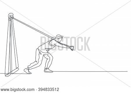 One Continuous Line Drawing Of Young Sporty Man Working Out Pull Crossover Cable Machine In Fitness
