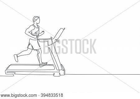 Single Continuous Line Drawing Of Young Sportive Man Training Speed Run With Treadmill In Sport Gymn