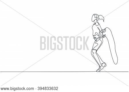 Single Continuous Line Drawing Young Sportive Woman Training With Jump Skipping Rope In Sport Gymnas