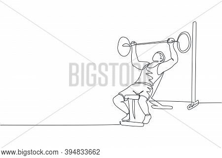Single Continuous Line Drawing Of Young Sportive Man Training Lifting Barbell On Bench Press In Spor
