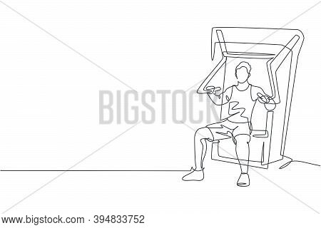 Single Continuous Line Drawing Of Young Sportive Man Training With Bench Press In Sport Gymnasium Cl