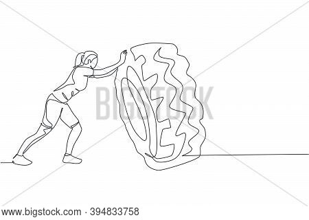 Single Continuous Line Drawing Of Young Sportive Woman Training Lift And Push Big Heavy Tire In Spor