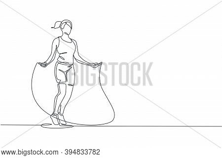 Single Continuous Line Drawing Young Sportive Woman Train Jumping With Skipping Rope In Sport Gymnas