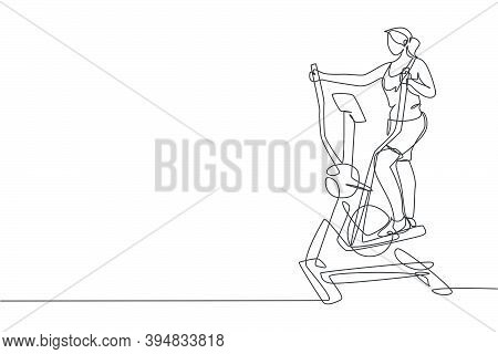 One Single Line Drawing Of Young Energetic Woman Working Out With Elliptical Cross In Gym Vector Ill