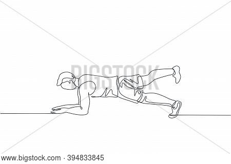 One Single Line Drawing Of Young Energetic Man Working Out Doing Elbow Plank In Gym Center Vector Il