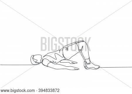 Single Continuous Line Drawing Young Happy Man Exercising Doing Hip Raise Stretching Movement In Spo