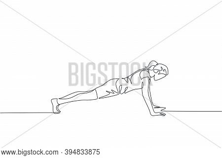 One Continuous Line Drawing Of Young Woman Training Doing Push Up In Fitness Training Gym. Healthy S