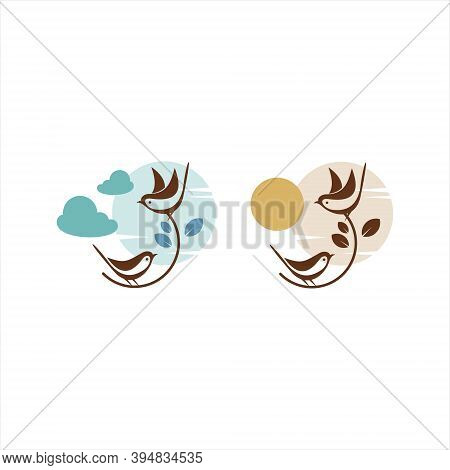 Sparrow Birds Element Set For Background, Pattern, Print Or Sticker Animal Nature Template Idea