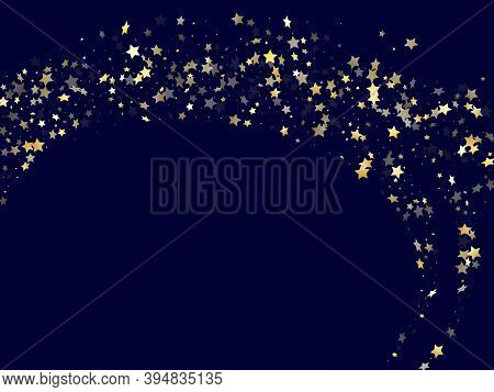 Gold Falling Star Sparkle Elements Of Glitter Gradient Vector Background. Festive Confetti Gold Star