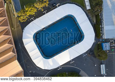 Melbourne, Australia - Nov 15, 2020: Aerial Top Down View Of Tennis Court In Melbourne Park. It Is T