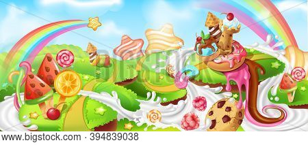 Landscape With Sweets. Cartoon Candy Land With Chocolate Farmhouse, Milk River, Rainbows And Hills W