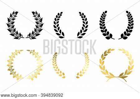 Laurel Winner Labels. Golden And Black Luxury Badge. Greek Or Roman Traditional Triumph Branches. Ch