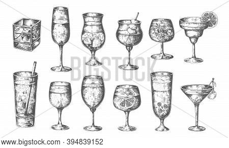 Sketch Cocktails. Vector Hand Drawn Glasses With Alcoholic Drinks, Different Cold Alcohol Beverages