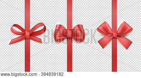 Red Ribbon Bows. Vertical Silk Ribbon With Decorative Bow Gift Decoration Collection. Realistic Fest