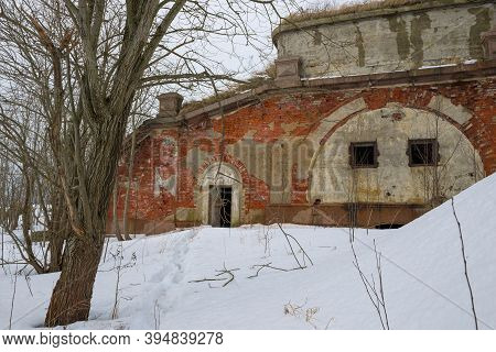 At The Old Artillery Fort Zverev (northern Fort) On A Cloudy February Day. Kronstad, Russia