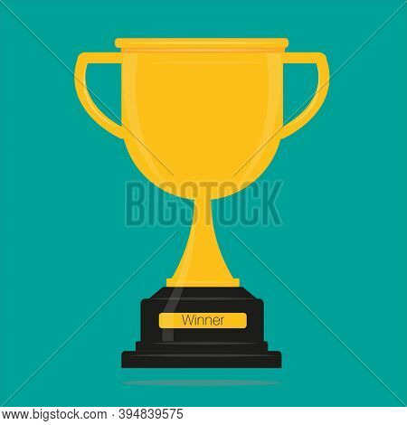 Winners Gold Cup Vector Illustration. Gold Trophy Awarded As Prize For Champion Victory Win On A Col