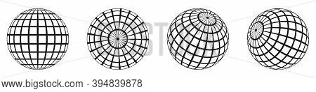 3d Spheres Globe Earth. Globe Icons In Different Angles. Vector Illustration. Isolated Linear Globe
