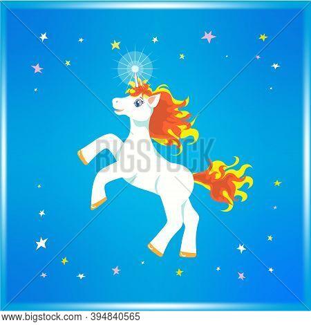 Joyful Cartoonish White Blue-eyed Unicorn With Fly-away Yellow And Orange Mane And Tail, Prancing An