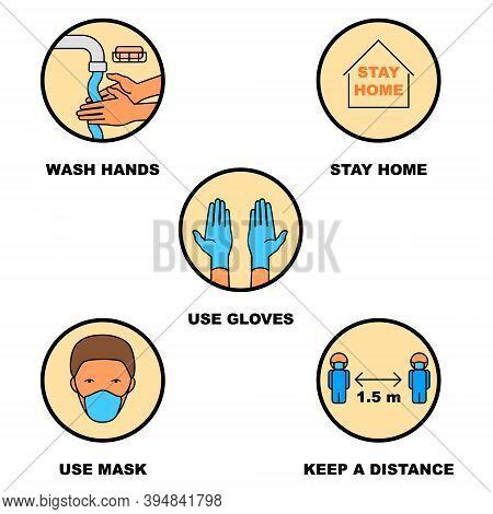 Coronavirus Precautions Wear Masks, Gloves, Wash Hands, Keep Distance Illustration