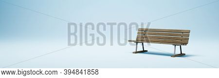 One Wooden Bench On Blue Studio Background With Copy Space, Solitude And Loneliness Concept 3d Rende