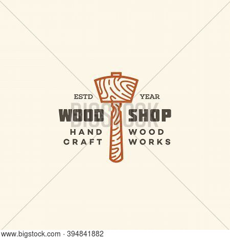 Logo Design Template With Wooden Mallet For Wood Shop, Carpentry, Woodworkers, Wood Working Industry